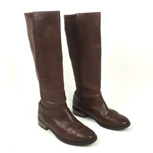 Cole Haan tall leather riding boots brown